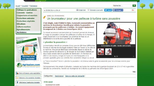 Capture d'écran de l'article AEROLIB